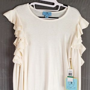 New with tags CeCe cold shoulder sweater